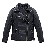 Meeyou Children's Motorcycle Leather Jacket, Faux Leather Coat for Boys (150/9-10T, Black Style)