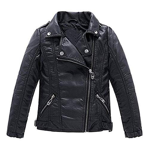Meeyou Children's Motorcycle Leather Jacket, Faux Leather Coat for Boys (130/5-6T, Black style)