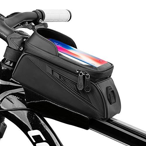 OEMC Bolsa para Cuadro de Bicicleta con Soporte para Teléfono, con Visera de Pantalla Táctil, Adecuada Soporte para Teléfonos Inteligentes de Menos de 6.5 Pulgadas