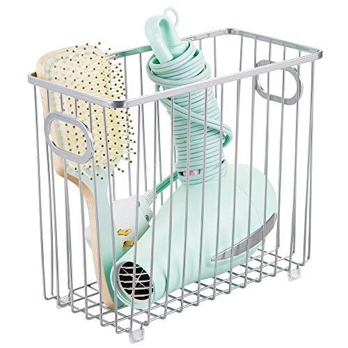 mDesign Cesta de almacenaje en metal con asas integradas – Caja organizadora con atractivo diseño en malla de alambre – Ideal como organizador de baño para cosméticos – plateado
