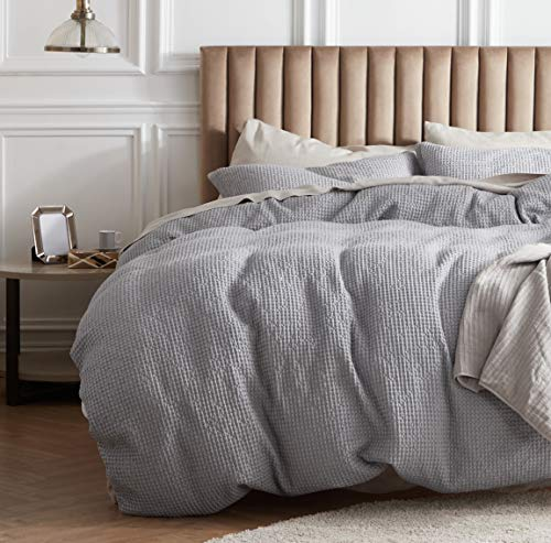 Bedsure 100% Cotton Waffle Weave Duvet Cover Set Full/Queen Size, 3 Pieces Luxury Comforter Cover,...
