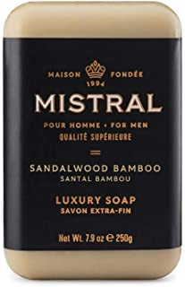 Mistral Men's Sandalwood Bamboo Bar Soap, Sandalwood