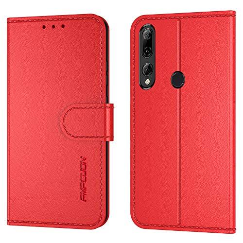 FMPC Handyhülle Kompatibel mit Huawei P Smart Z Hülle, PU Lederhülle Flip Hülle Wallet Cover für Huawei P Smart Z Tasche Schutzhülle [Kartensteckplätze][Magnetic Closure Snap], Rot