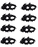 CISMARK Masquerade Party mask Venetian of Realistic Silicone Masquerade Half face Mask,Black,One Size (Pack of 8)