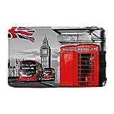 Alfombra de baño de Londres, diseño de cabina de teléfono rojo en la calle, romántica ciudad, Old Street Big Ben, vintage, antideslizante, alfombra de baño para el suelo, alfombra de baño, 50 x 80 cm