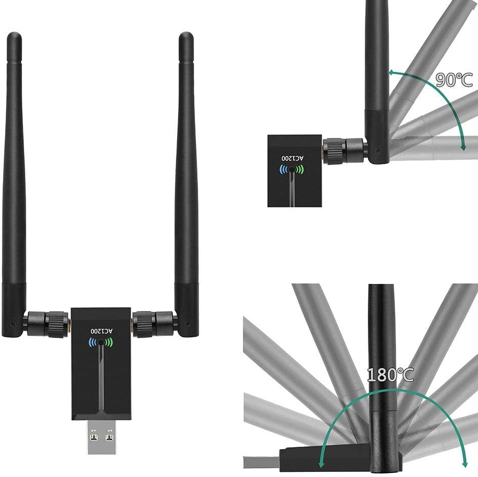 BaofuFacai Dual-Antenna Wireless USB WiFi Adapter Wireless Network Card with Dual 5dBi Antennas 1200Mbps 2.4G/5.8G WiFi USB Computer Network Adapter for PC Laptop Windows