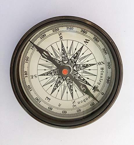 Kompass und Sonnenuhr-Kompass aus Messing im nautischen Antik-Stil, mit Gedicht
