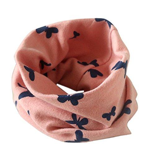 SODIAL Tour de cou pour les bebes et les filles Echarpe en coton Tour de cou en forme O Foulards (rose)