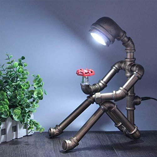 Industrie Tischlampe Roboter LED Augenschutz YUNRUX Retro-Stil Wasser Rohre Schreibtischleuchte Industriestil Schreibtischlampe Wasserleitung Tischleuchte für Cafe (Ohne Glühbirne)E27 Schnittstelle
