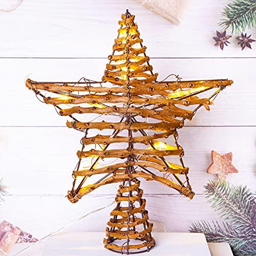LAWOHO - Puntale per albero di Natale, 25,4 cm, in rattan, con 10 luci bianche calde e funzioni, con timer, decorazione per albero di Natale, casa, negozio, bar, decorazione per interni