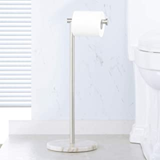 KES Bathroom Toilet Paper Holder Stand Tissue Roll Holder with Modern White Marble Base, SUS304 Stainless Steel Brushed Finish BPH284S1-2