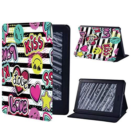 MoHHoM Kindle Cover,Tablet Case Für Amazon Kindle Paperwhite (1/2/3/4)/Kindle(2019/2016) - Graffiti Art Leder Cover Case 6 Zoll, C, Kindle 8. Gen 2016