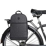 TOURBON Nylon Clip-On Bike Panniers Backpack 13' Laptop Bag - Black