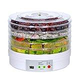 ジャーキーフルーツ野菜用食品脱水機の電気食品フルーツ脱水機機械ポータブルカウンターアジャスタブルサーモスタットBPAフリー5トレイよりホワイト