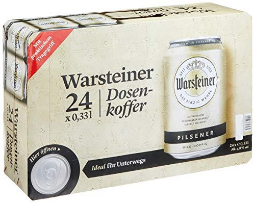 Warsteiner Premium Pilsener Dosenkoffer Premium Verum, Internationales Bier nach deutschem Reinheitsgebot, EINWEG (24 x 0.33 Liter)
