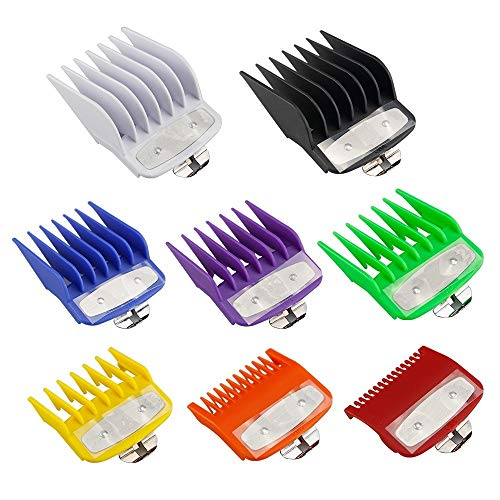 8 Pcs Premium Professional Clipper Guard Guide Set, Stainless Steel 8 Length Color-Assorted Clipper Guard Combs Great for Professional Stylists and Barbers, Compatible with Most Wahl Clippers
