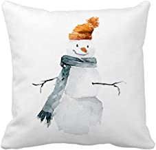 4TH Emotion Watercolor Snowman Christmas Home Decor Throw Pillow Cover Cotton Polyester Cusion Cover 18 x 18 Inches
