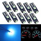 HSUN T5 74 73 2723 2721 W3W LED バルブ,メーター球 パネル球 エアコン球 ウェッジ球,ダッシュボード,メーター インパネ エアコンパネル ルーム 汎用 LED電球 マイクロ ランプ ライト,12V車用 高輝度 SMD3030チップ,10個セット,ホワイト (T5-アイスブルー)