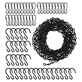 Suwimut 157 Inches Hanging Chains, Black Chain with 30 Hooks and 30 Clips for Hanging Bird Feeders, Birdbaths, Planters, Billboards, Chalkboards, Lanterns and Ornaments