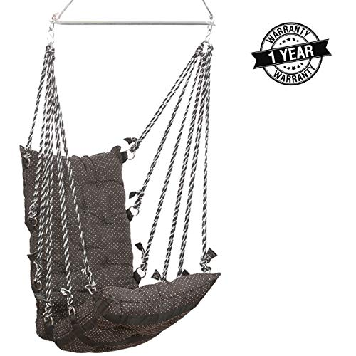Smart Beans Cotton Hanging 150 Kg Capacity Hammock Jhula Swing Chair for Both Kids and Adults (Black)