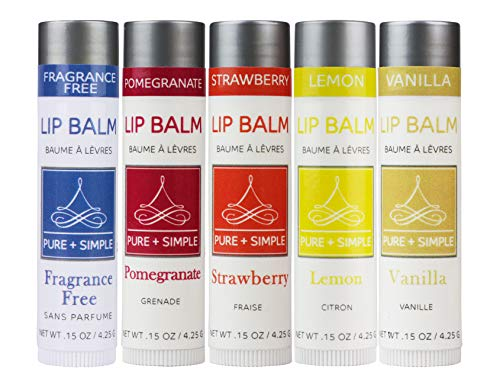 Vegan Lip Balm by PURE + SIMPLE, Melody Lip Balm Collection, Cruelty Free Chapstick, with Avocado Oil, Jojoba Oil, Vitamin E & Candelilla Wax, Moisturize Dry, Cracked, or Chapped, Lips, 5 Tube Set.