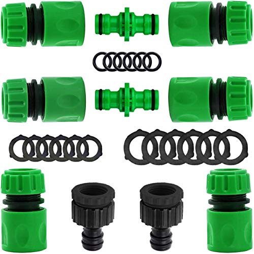 VIDEN 10 Pack Garden Hose Connector, Hose Tap Connector Kit Double Male Snap Connector, Hose 1/2'End Quick Connect, 2 in 1 Threaded Tap Connector with O rings Spares for Join Garden Hose Pipe Tube