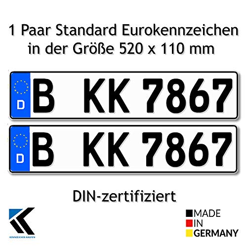 Antmas DIN-zertfizierte Euro-Kennzeichen | Kfz Kennzeichen für Deutschland (2 Kennzeichen)