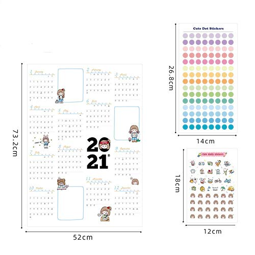 2021 Plan Anual Año Calendario Horario Diario con Lector de Planificación Planificador Etiqueta Dots Pared Kawaii Estudio de los Efectos de Escritorio for niños (Color : 2021 C)