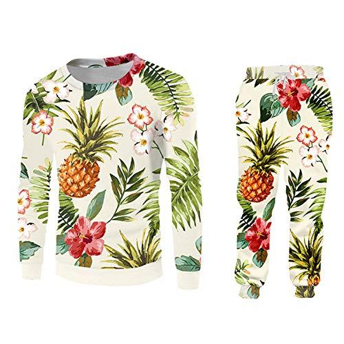 Hombres Mujeres Set de 2 Piezas Sudadera con Capucha Chaqueta de Camiseta Impreso 3D Piña Piña Streetwear Casual Extranjero 02239SWPA 5XL