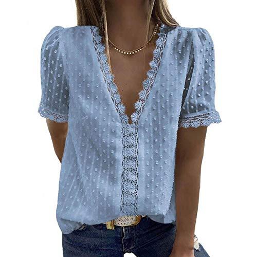 LQIQI Damen T-Shirt Kurzarm Spitze Chiffon V-Ausschnitt Klassik Einfarbig Lässiges Schlichtes Design Casual Top T-Shirt,Blau,2XL