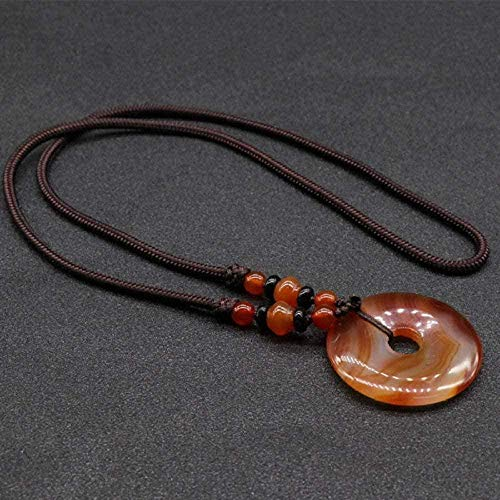 huangshuhua Collares Pendientes de Piedra para Mujer Collares Pendientes de ágata roja Vintage de Piedra Natural con Adornos de Cadena de Cuerda