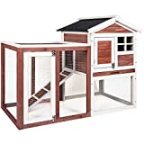 48' Weatherproof Wooden Rabbit Hutch with Asphalt Roof & Outdoor Run, for Ferrets & Other Small Animals, (Auburn and White)