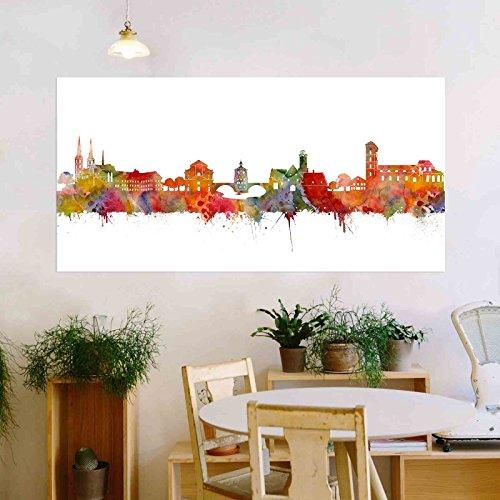 Kunstbruder Bamberg Stadt Skyline - Wandbild - Light (div. Größen) - Kunst Druck auf Leinwand 60x120cm