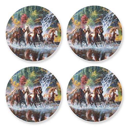 Juego de 4 posavasos redondos para absorber bebidas, con base de corcho, diseño de caballo, posavasos para mesa de café, regalo de inauguración de la casa para decoración del hogar