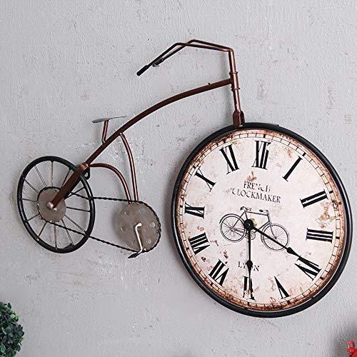 WHSS Reloj de pared para bicicleta de hierro forjado con reloj de pared retro de bicicleta antigua, reloj de mute de pared, 58 x 42 cm