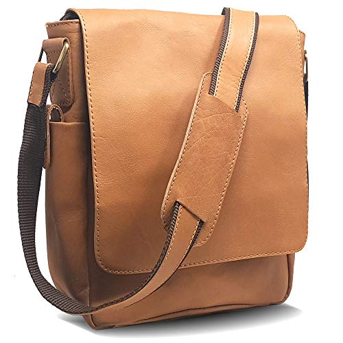 Leather Messenger Bag for Tablets - Unisex Crossbody Carrying Case and Sling Satchel