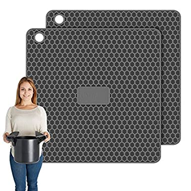 PratiPad Plus 4-in-1 Multipurpose Silicone Pot Holders, Trivets, Jar Openers, Spoon Rests - Extra Thick Protection - Set of 2 - Dark Grey