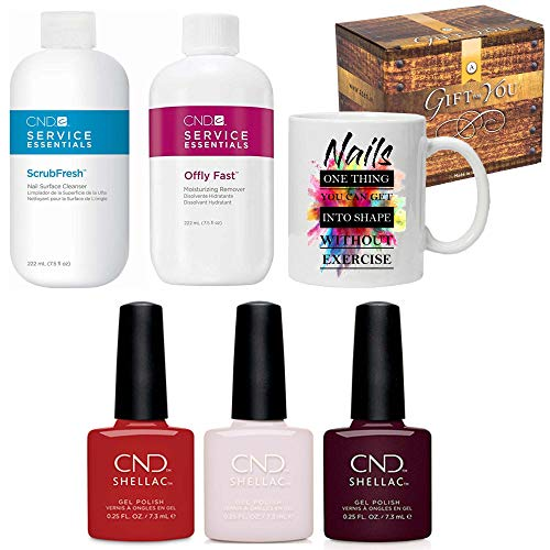 CND Shellac ICONIC COLLECTION 2020 Kit (3 x 7.3ml) Nagellack Gellack/Offly Fast/Scrubfresh 222ml & Tasse und Geschenkbox - POINTE BLANC/COMPANY RED/SPIKE