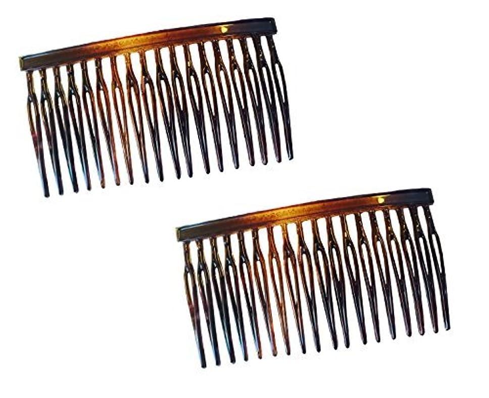 どこにも手入れ進化するParcelona French Light 2 Pieces Small Glossy Celluloid Shell Good Grip Updo 18 Teeth Side Hair Comb Combs [並行輸入品]