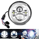 Belt&Road 7 Inch Round Super White LED Headlight for 2014-2020 HD Street Glide Special and Road King Special,Hi-Lo Beam Headlamp With Dual Beam Adapter,Chrome Housing