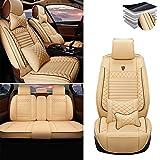 Tuqiang Funda de asiento de coche para VOLVO C30 C70 S40 S60 S80 S90 V40 V50 V60 XC40 XC60 XC70 XC90, cuero de lujo impermeable, compatible con airbag, juego completo de lujo beige