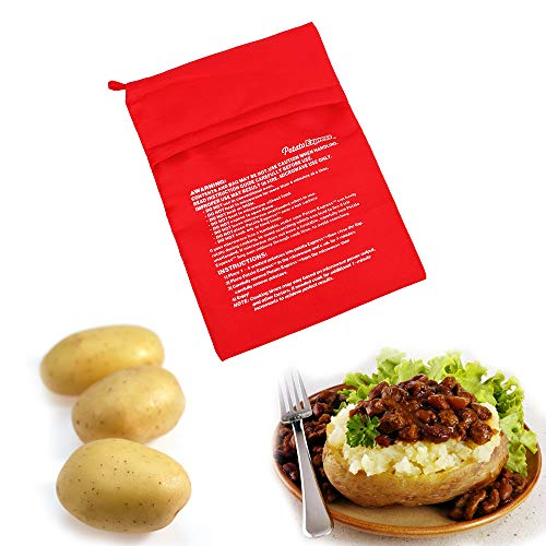 iTimo Bolsa de cocina lavable, bolsa de papas para hornear en microondas, bolsillo de arroz y patatas al horno, bolsillo de vapor fácil de cocinar.