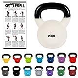 kettlebell professionale 2 - 30 kg | ghisa revestimento in neoprene | incl. workout pdf | diversi colori (kettlebell professionale 20 kg | ghisa revestimento in neoprene | incl. workout pdf | bianco)
