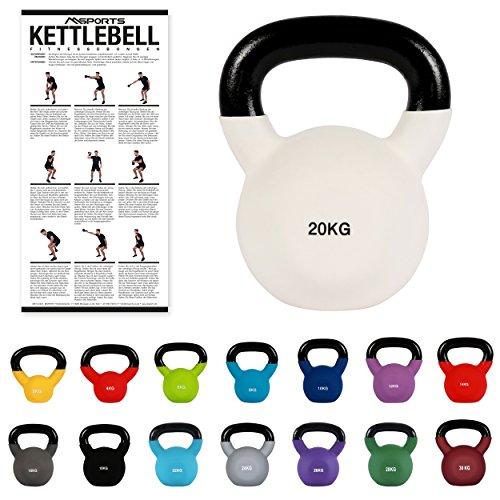 MSPORTS Kettlebell Neopren 2 – 30 kg inkl. Übungsposter (20 Kg - Weiß) Kugelhantel