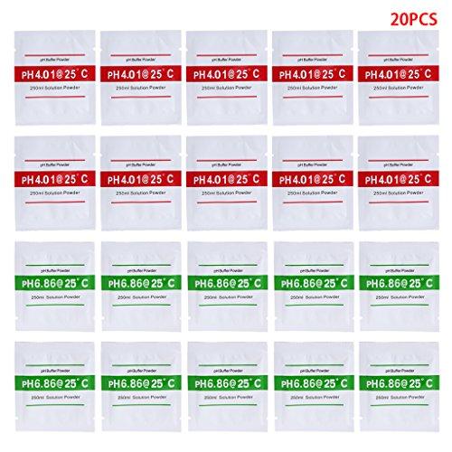 JIACUO 20 Pcs PH-Pufferlösung Pulver PH für Testmessgerät Messkalibrierung 4.01 6.86