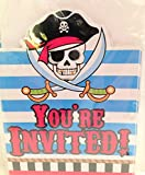 Pirate You're Invited Invitation Cards with Envelopes (8 count) Happy Party