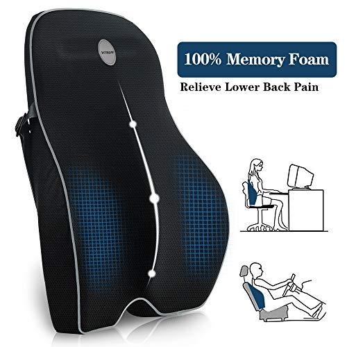 Villsure Lumbar Support Pillow, Memory Foam Back Cushion Pillow for Office Chair,Computer/Car Seat and Wheelchair with Breathable 3D Mesh,Ergonomic...