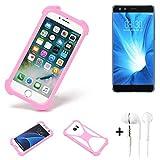 K-S-Trade® Bumper + Kopfhörer Für Nubia Z17 Mini S Handyhülle Schutzhülle Silikon Schutz Hülle Cover Case Silikoncase Silikonbumper TPU Softcase Smartphone, Pink (1x)