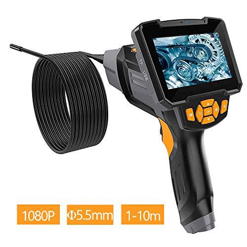 QIANG Industrial Digital Cámara Mano 5.5mm 1080P HD, Cámara De Inspección De Tuberias, IP67 Impermeable 6 LED Boroscopio Profesional De Semi Rígidos, Pantalla LCD A Color De 4.3 Pulgadas,φ5.5mm+10m