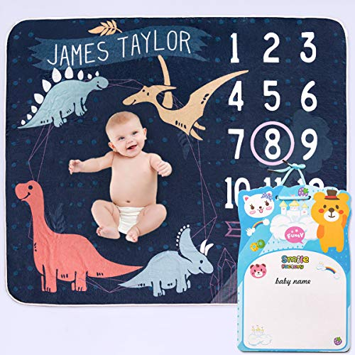 RYBPVC Baby Monthly Milestone Blanket for boy, Message Board Baby Name Dinosaur Month Blanket for Baby Shower Newborn Growing Blanket Premium Soft Flannel 12 Month Baby Gift Size 46